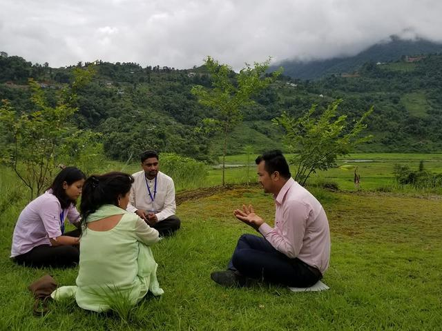 NELP participants engaging in a mediation simulation in Pokhara, Nepal.