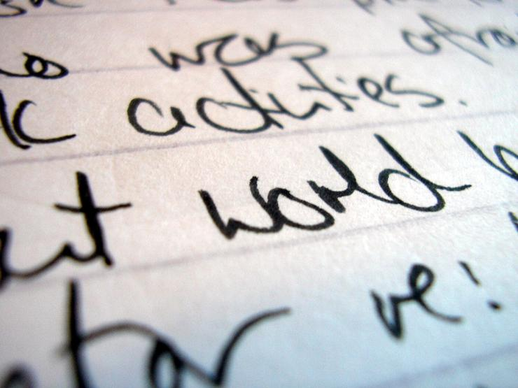 Close-up of words on paper