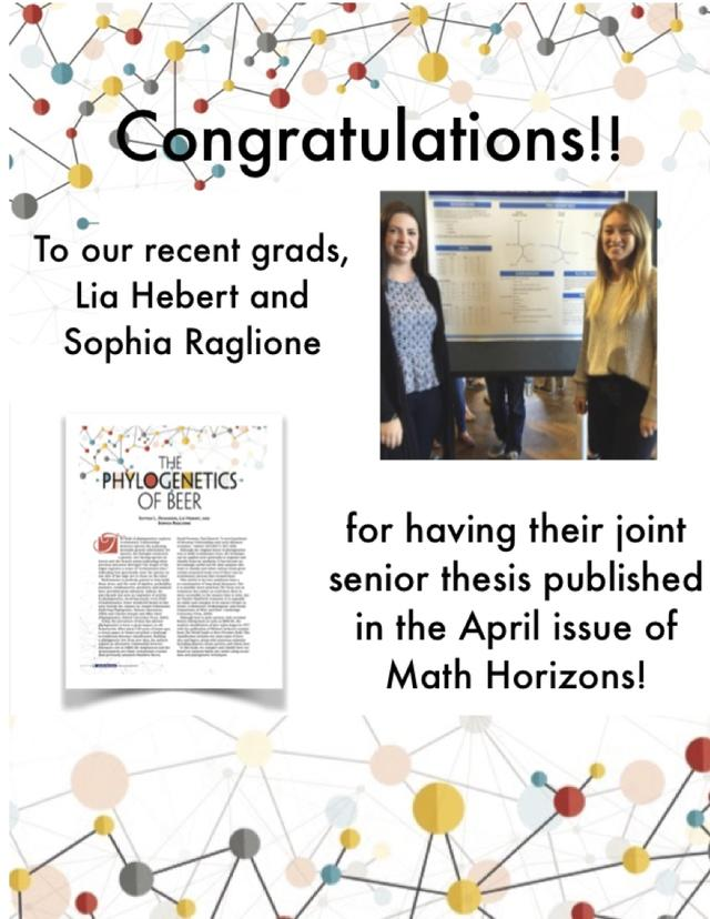 Congratulations!! To our recent grads, Lia Hebert and Sophia Raglione for having their joint senior thesis published in the April issue of Math Horizons!