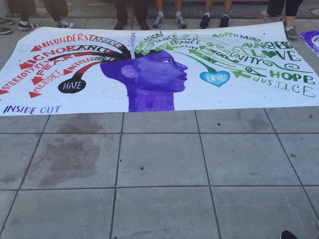 WorldLink students painted murals against Islamophobia