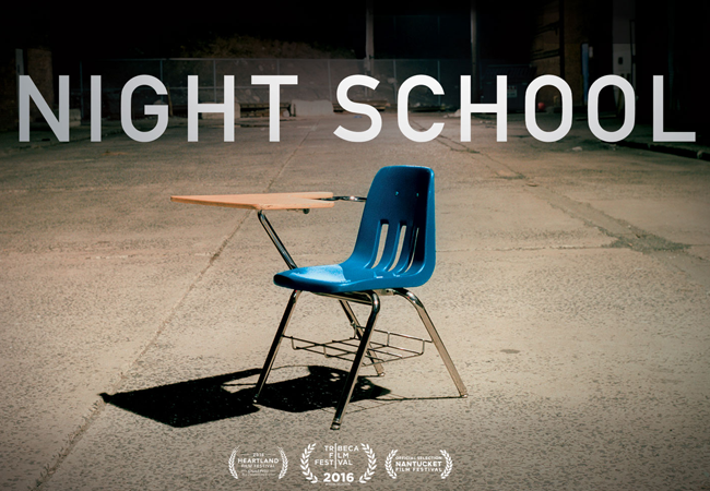 empty school chair on a basketball court with the title Night School