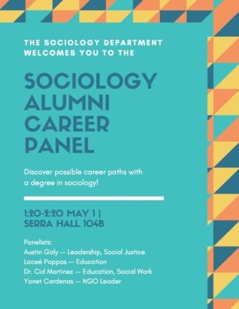 Sociology Alumni Career Panel words on teal background