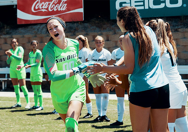 Amber Michel, senior goalkeeper for USD women's soccer won the WCC Female Sportsmanship Award