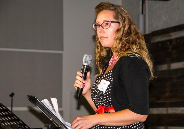 Tina Medina speaks at the Social Fabric Initiative Summit in June 2018
