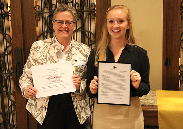 Sr. Mary Hotz, English, was honored by a Mortar Board student as an appreciated faculty member at USD.