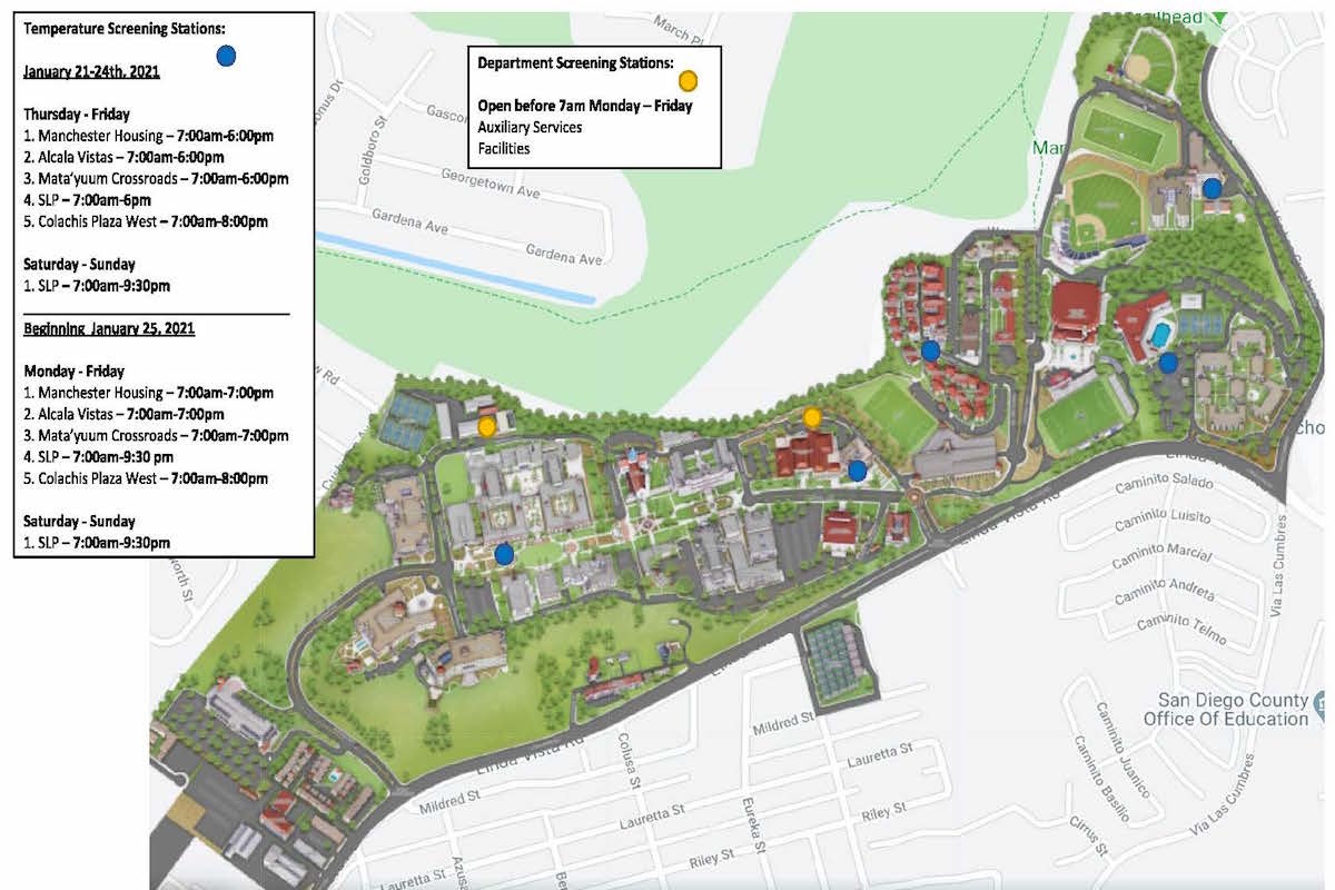 Jan. 20 illustrated USD Campus Map with screening locations