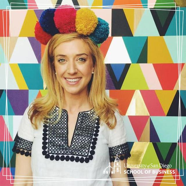 Photo of founder and CEO of To the Market, Jane Mosbacher Morris, against a colorful backdrop of geometric shapes