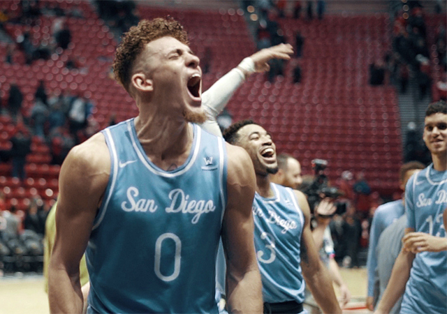 Isaiah Pineiro celebrates after SDSU win