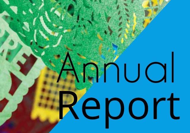 "text says ""annual report"", image is half blue and the remaining half is a section of a paper cut banner"