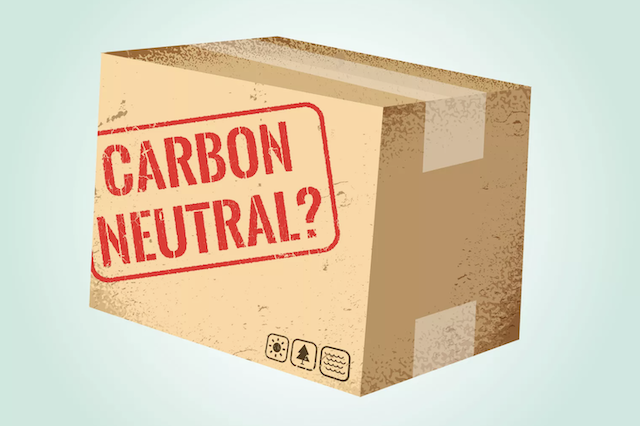 "Cardboard box with ""carbon neutral"" printed on it"