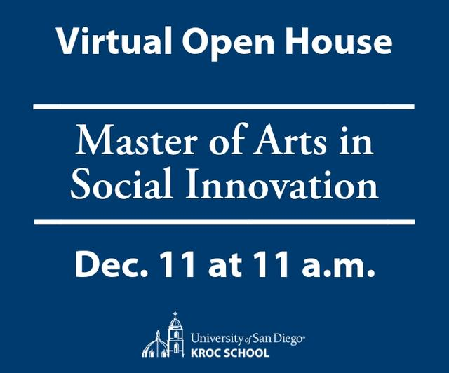 Virtual Open House Master of Arts in Social Innovation Dec. 11 at 11 a.m.