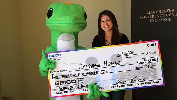 Stephanie Hidalgo, a sophomore business accounting major and leadership minor,  is one of only two California-based students to win a GEICO Achievement Award.
