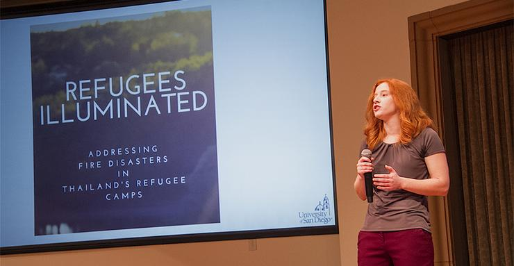 Erica Wright, a member of Refugees Illuminated, a USD Global Social Innovation finalist, talks about the student project about fire safety in Thailand refugee camps. The $50,000 GSIC final is June 23.