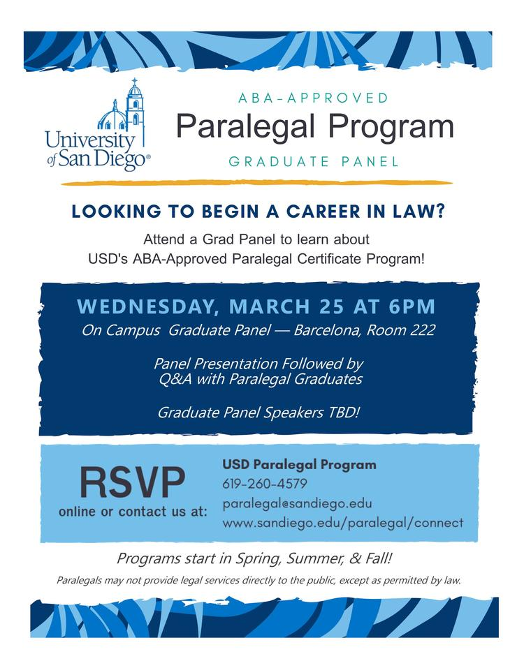 Paralegal Program graduate student panel event flyer advertising date, time, and RSVP details