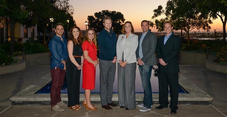 The 7x7 School of Business alumni speakers (left to right): Noah Lomax, Brittan Trozzi, Maria Thompson, Chad Beville, Debbie Ruane, Amar Harrag and Chris Lobus.