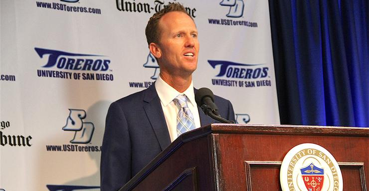 Former PGA Tour golfer Chris Riley was introduced as the USD men's golf team's new head coach. Riley, 43, played on the PGA Tour for 13 seasons. He was a four-time All-American golfer at UNLV.