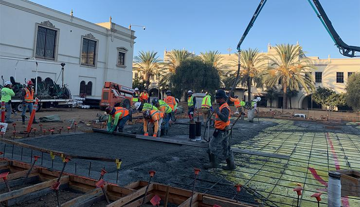 There was 367 cubic yards of concrete poured, 37 concrete trucks' worth, on Oct. 18 as the first-floor concrete slab was put into place for the Learning Commons building.