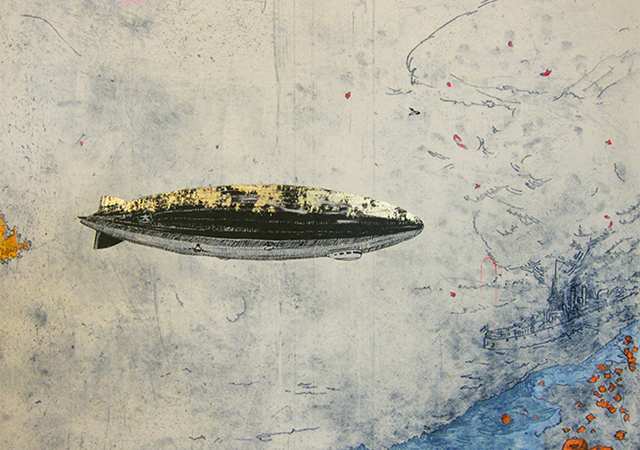"Allison Bianco, Detail of ""Zeppelin,"" 2013, intaglio with chine collé and screenprint, diptych, 18 x 48 inches, Image Courtesy of Cade Tompkins Projects"