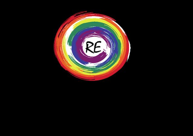 RE logo (circular rainbow with