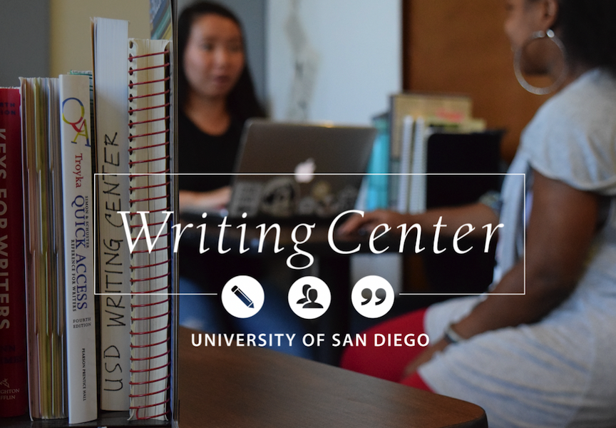 books and journals in foreground, writing center tutor and student working together in backgroud. Writing Center logo that says,
