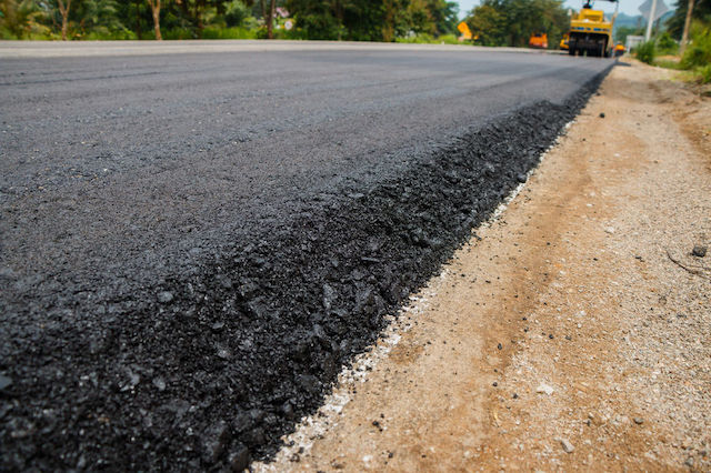 Detail of a new asphalt road