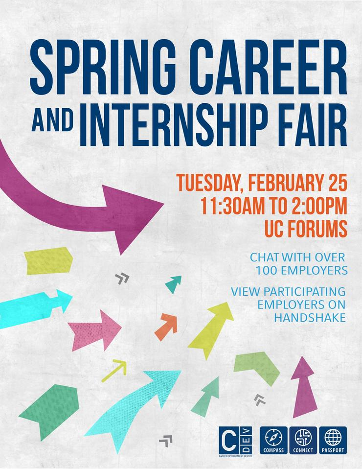 Flyer: Spring Career and Internship Fair, Tuesday, February 25