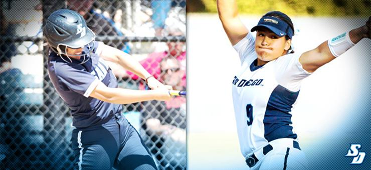 Kailey Hill, left, and Halle Kyler were two standout players as the USD softball team opened its season with a 5-1 record in its own tournament. Hill and Kyler were feted by the WCC, too.