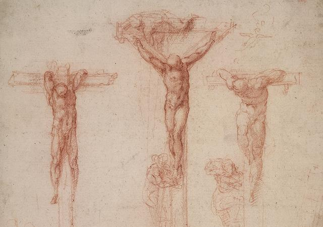 Detail of drawing by Michelangelo of The Three Crosses