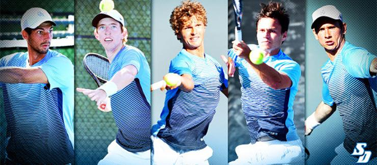The men's tennis team, WCC regular-season and WCC Tournament champions, received nine all-conference honors for its players as well as head coach.
