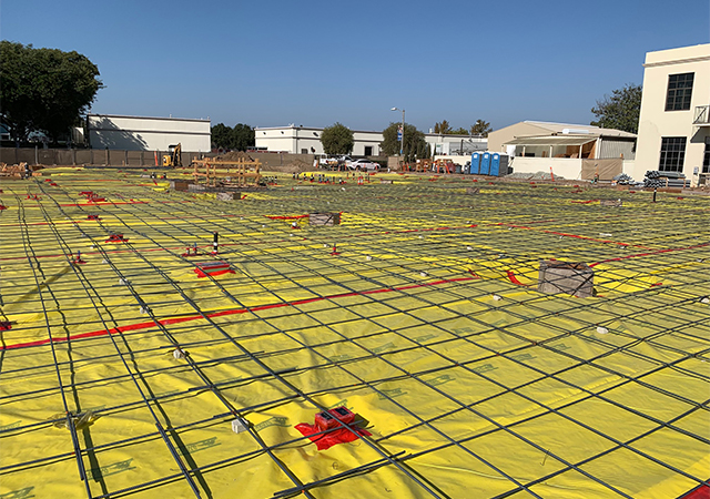 The first-floor concrete slab was poured on the Learning Commons during construction  on Oct. 18.