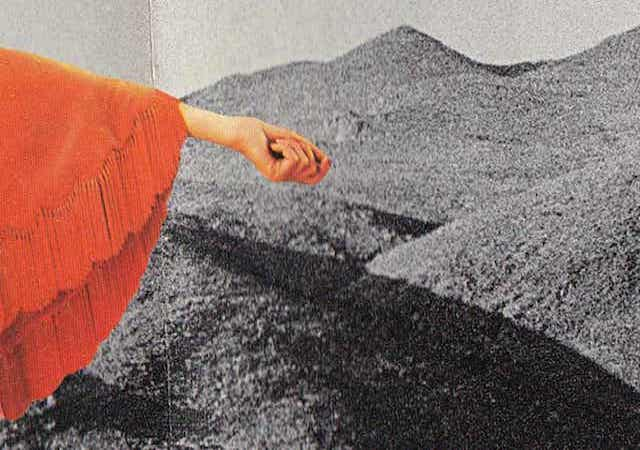 Digital collage- land in background and orange clothing in foreground