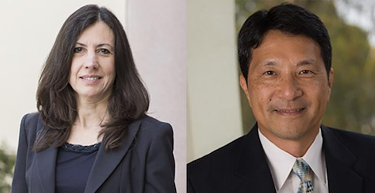 Dr. Barbara Lougee, left, will serve as interim dean for the School of Business in 2019-20. Dr. Charles Tu will serve as interim associate dean for graduate programs in the School of Business.