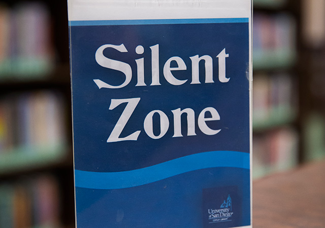 Silent Zone sign in library