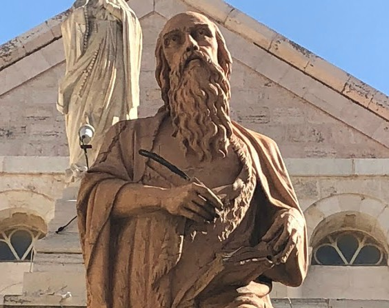 Statue of St. Jerome outside St. Catherine's Church, Bethlehem