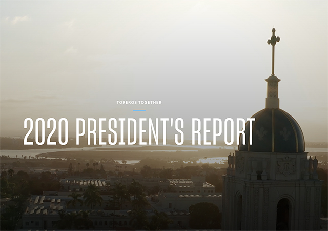 "Image of USD campus with words ""2020 USD President's Report"""