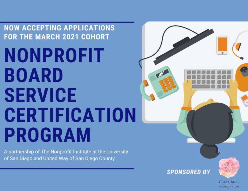 Graphic that reads nonprofit board service certification program