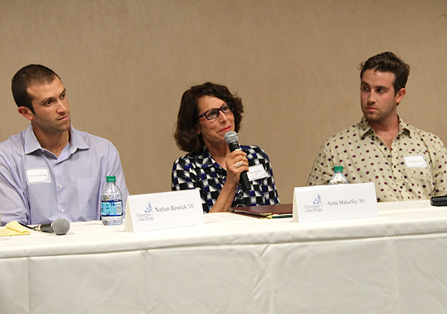 Entrepreneur Anita Mahaffey '80, speaks during a panel discussion at the USD Legacy Entrepreneurship Conference.