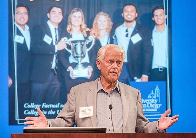 Malim Burnham, Emeritus policy advisory board member at the Burnham-Moores Center for Real Estate, announced a $2.3 million gift to support USD real estate students and faculty.