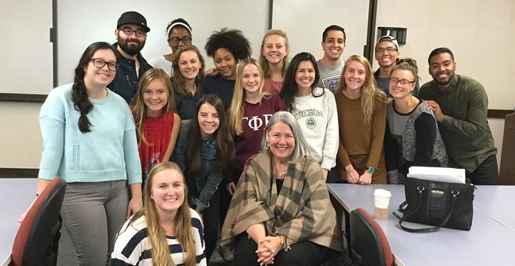 USD Board of Trustees member Darlene Marcos Shiley spoke with School of Leadership and Education Sciences nonprofit leadership and management undergraduate students about her philanthropy efforts.