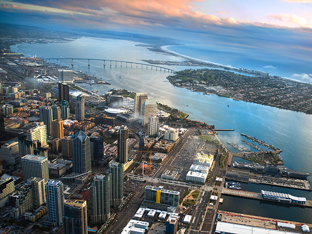 Aerial view of downtown San Diego and San Diego Bay
