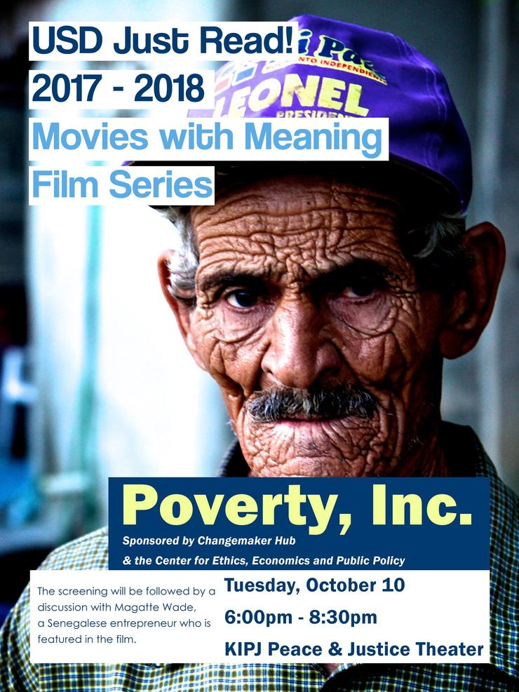 Poverty Inc Film poster with an image of an elderly man