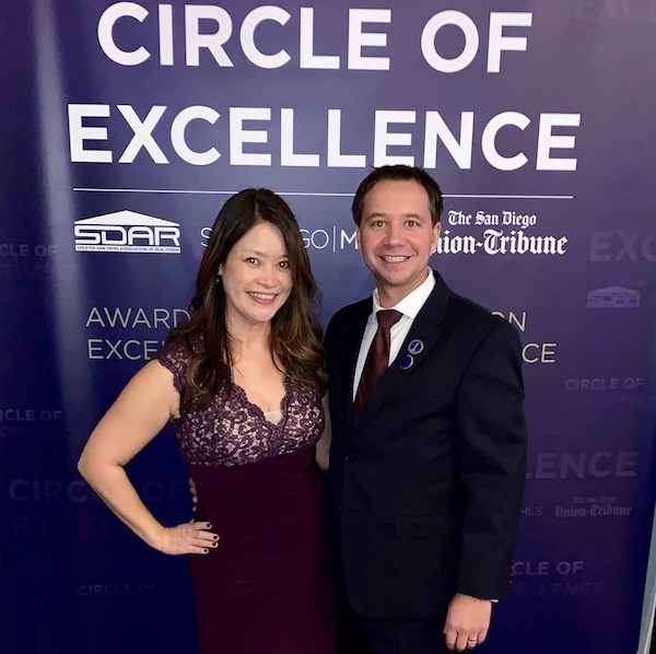 Patrick Kappel '19 MSRE and his wife Grace Kappel at the San Diego Association of Realtor's Circle of Excellence Awards