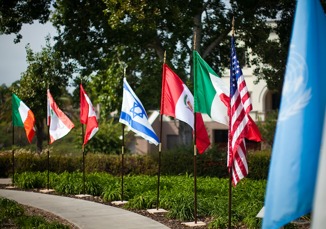 Various countries' flags on the USD campus
