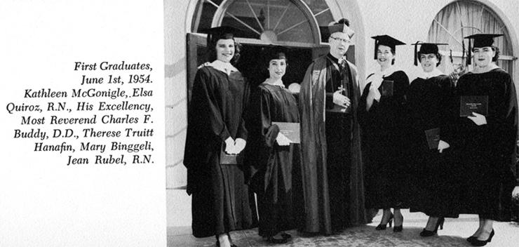 Therese Truitt (Hanafin) Whitcomb, the first and only San Diego College of Women graduate in 1953, stands with a few 1954 grads and Bishop Charles Frances Buddy during a June 1954 ceremony.