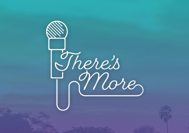 "There's More logo is a white microphone with the words ""There's More"""