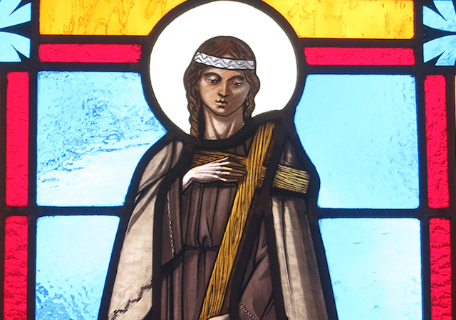 Stained glass window of Saint Kateri Tekakwitha