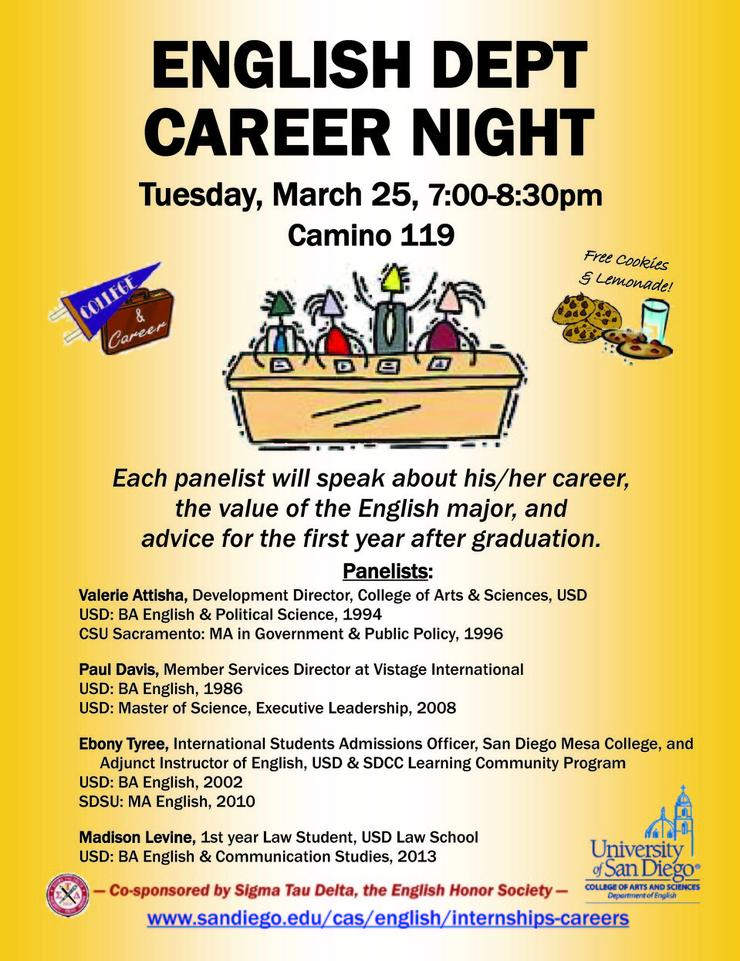 image of flyer for Engl Dept Career Night