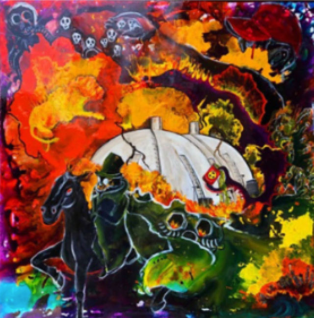 Painting of pollution and fire
