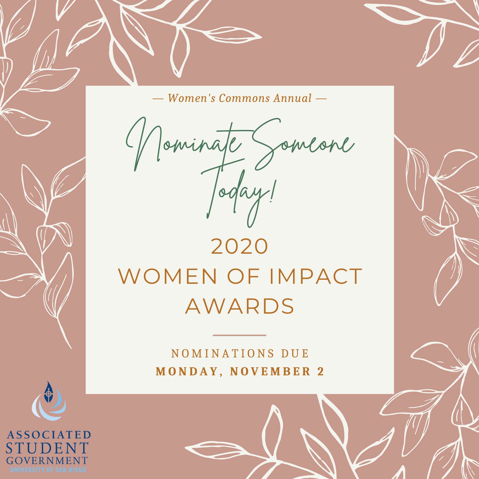 Nominate Someone Today! 2020 Women of Impact Awards, Nominations due November 2