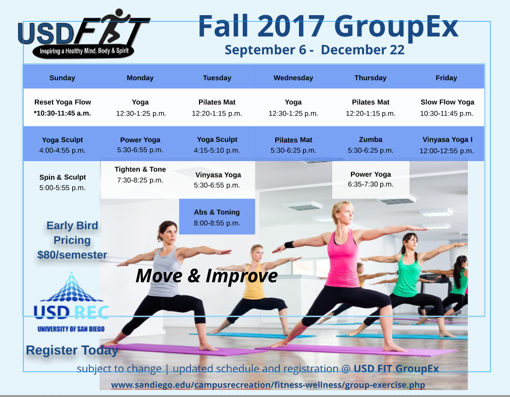 USD FIT GroupEx - Fall 2017 Schedule